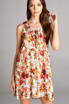 FRONT TIE ACCENTED DOUBLE LAYERED SLEEVELESS MULTI FLORAL PRINT DRESS