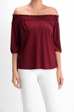 Solid tube off the shoulder 3/4 Sleeve shirring top
