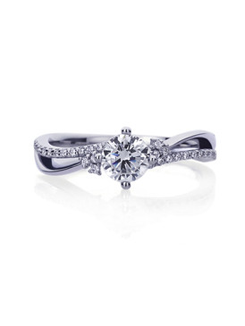14K White Gold Round Wavy Solitaire Engagement Ring