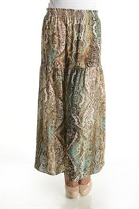 Python Layer Maxi SkirtPaisley Printed Multi