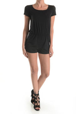 Double Lined Short Sleeved Romper with Keyhole Back   95% POLYESTER 5% SPANDEX