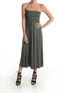 This striped fold over skirt can also be worn as a tube dress