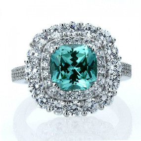 Sterling Silver Cushion Cut 2 carat Green Spinel CZ Womens Ring