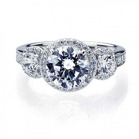 Platinum Plated Sterling Silver Wedding & Engagement Ring Three Stone Halo Ring, 2 Carat Center Stone Band Width 3MM
