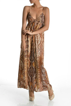 Snake & Paisley Print Maxi With Mesh Lined Spaghetti Straps
