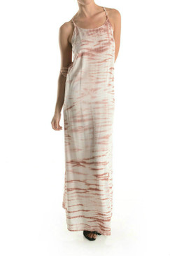 Unique Low Square Back with Marbled Tie Dye Maxi Dress