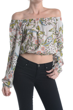 Big Floral Printed Cinched Long Sleeve Crop Top
