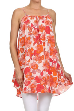 Flower printed Gauzy Boho Spaghetti Strapped Mini Dress with Side Cut Out Detail
