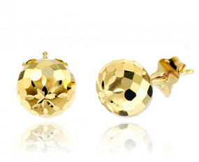 14K Gold Womens Diamond Cut Ball Stud Earrings