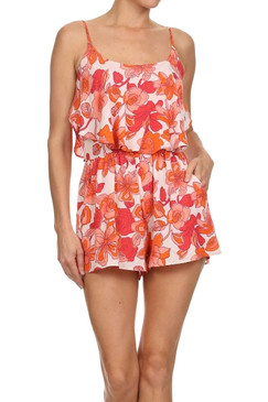 Floral print, double layer, relaxed romper