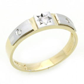 14K Engagement Ring 0.2ctw CZ Cubic Zirconia Women's Wedding Band Two Tone Gold Ring