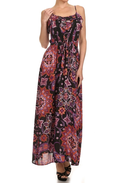 Printed, scoop neck, sleeveless, full length, maxi dress with spaghetti straps and ruffle flounce overlay at neckline