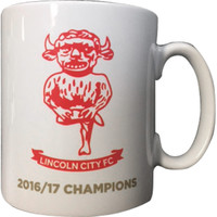 Lincoln City Gold Text 2016/17 Champions Mug. Available now from Andreas Carter Sports.