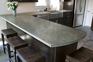 L shape concrete kitchen countertops