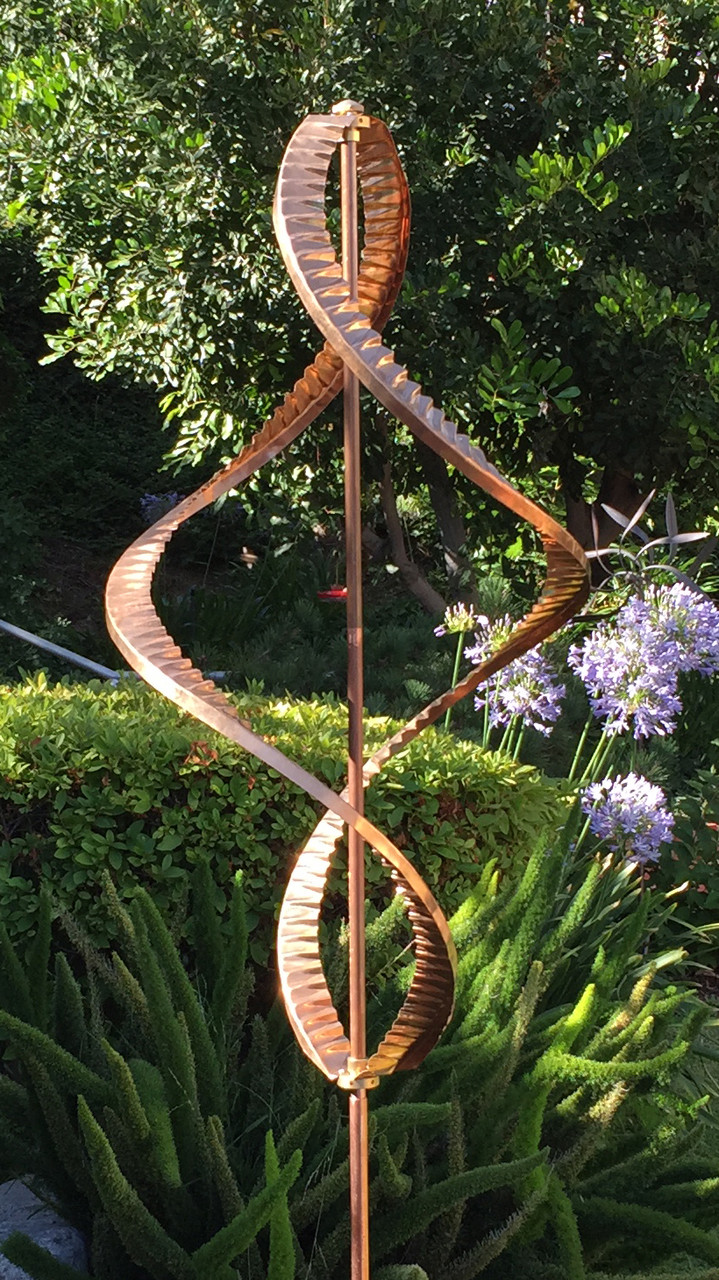 Stanwood Wind Sculpture Kinetic Copper Dual Helix Spinner