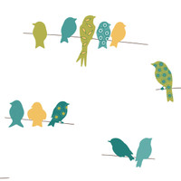 Blue Book Bird On A Wire Wallpaper KB8539 by York