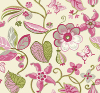 cream, sprout green, watermelon, blush pink, olive green, white, silver Carey Lind Vibe  Sea Floral Wallpaper