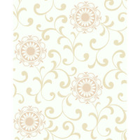 Silhouettes Daisy Medallion With Scrolls AP7456 Wallpaper