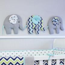 CHEVRON NAVY Nursery Wall Art - Elephant Parade