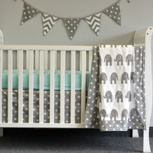 "ELEPHANT JOY ""Classic"" 3PC Baby Crib Bedding Set (Blanket, Crib Skirt & Crib Sheet)"
