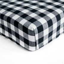 PLAID Woven Crib Sheet - Black and White Plaid