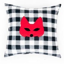 COZY PLAID Applique Nursery Pillow - Red Fox