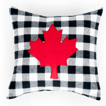COZY PLAID Applique Nursery Pillow - Red Maple Leaf