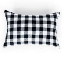 Cozy Plaid Lumbar Nursery Pillow - White and Black