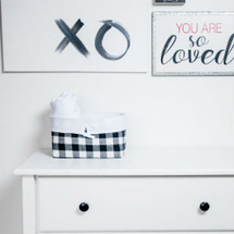 COZY PLAID Soft Nursery Basket - White and Black Plaid with White Twill