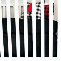 "COZY PLAID ""Classic"" Crib Skirt 13"" Solid Black"