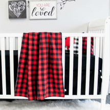 "Cozy Plaid ""Classic"" Baby Crib Blanket - Red and Black"