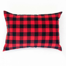 Cozy Plaid Lumbar Nursery Pillow - Red and Black