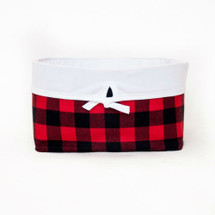 COZY PLAID Soft Nursery Basket - Red and Black Plaid With White Twill
