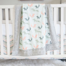 WOODLAND FOX 3PC Baby Crib Bedding Set (Blanket, Skirt & Sheet)