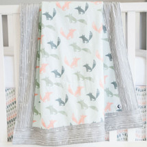 Woodland Fox Classic Baby Blanket with 100% Cotton Flannel Backing