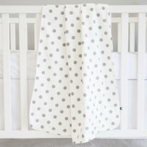 Baby Blanket - SIMPLY GREY -Grey Polka Dots/Light Weight