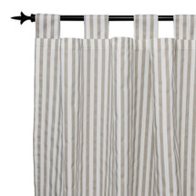 AQUILA Long Nursery Drapes - Tab or Rod Top - Tan Stripe (Set of 2)