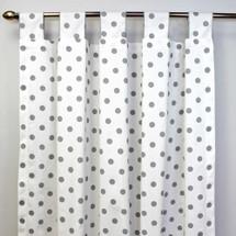 ELEPHANT JOY Long Nursery Drapes - Tab or Rod Top - Grey Dots on White(Set of 2)
