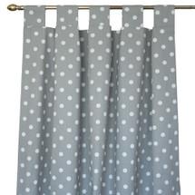ELEPHANT JOY Long Nursery Long Drapes - Tab or Rod Top -White Dots on Grey (Set of 2)