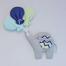CHEVRON NAVY Nursery Wall Art - Happy Elephant
