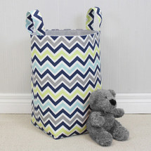 CHEVRON NAVY Clothes or Toy Nursery Hamper
