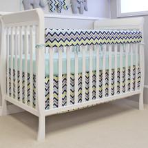CHEVRON NAVY Baby Crib Rail Protector