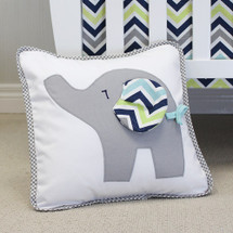 CHEVRON NAVY Nursery Pillow - Happy Elephant