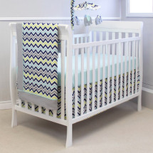 CHEVRON NAVY 3 PC Set Crib Bedding - Bumperless