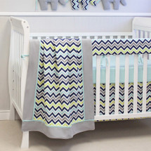 CHEVRON NAVY 4 PC Set Crib Bedding - includes Rail Protector