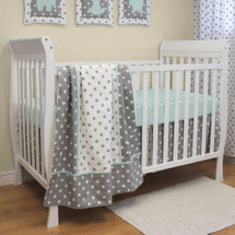 MOXY AQUA 3 PC Set Crib Bedding - Bumperless