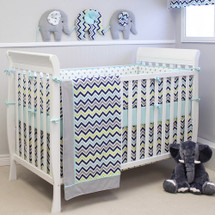 CHEVRON NAVY 4PC Set Crib Bedding - includes Bumper Pad