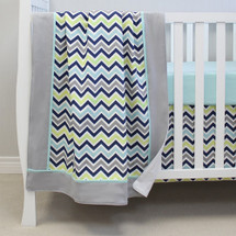 CHEVRON NAVY Baby Crib Blanket with Border