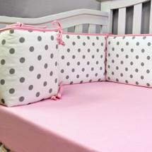 CHEVRON PINK Baby Crib Bumper Pads
