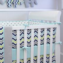 CHEVRON NAVY Baby Crib Bumper Pads